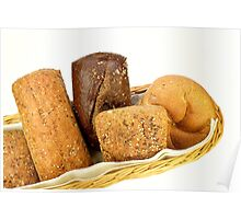 Basket of assorted rolls Poster