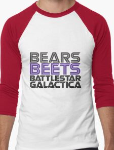 Bears, Beets, Battlestar Galactica. Men's Baseball ¾ T-Shirt