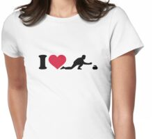 I love Curling player Womens Fitted T-Shirt