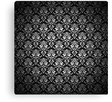 Black Lace Pattern on White Background Canvas Print