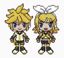Rin & Len Pixels by geekmythology