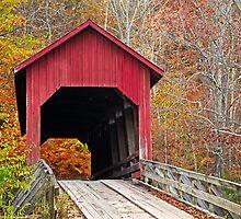 Bean Blossom Covered Bridge in Fall by Kenneth Keifer