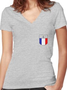France pocket Women's Fitted V-Neck T-Shirt
