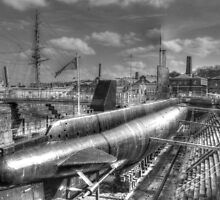 HMS Ocelot O class submarine at Chatham Naval Dockyard by paulmuscat