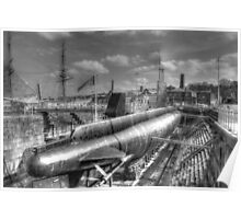 HMS Ocelot O class submarine at Chatham Naval Dockyard Poster