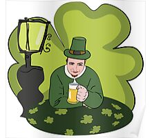 St Patricks Day Man with Beer Poster