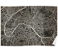 Paris map ink lines Poster