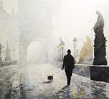 Prague Charles Bridge Morning Walk by Yuriy Shevchuk
