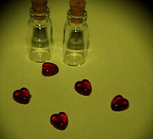 mini bottles and hearts Yellow filter by Perggals© - Stacey Turner