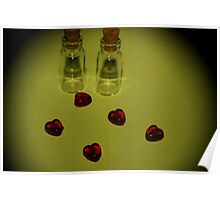 mini bottles and hearts Yellow filter Poster