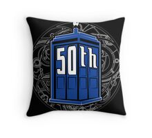 Happy 50th Tardis Throw Pillow