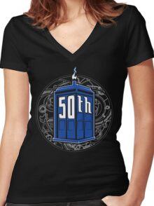 Happy 50th Tardis Women's Fitted V-Neck T-Shirt