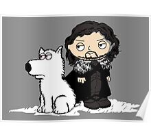 Stewie Griffin Jon Snow game of thrones poster Poster