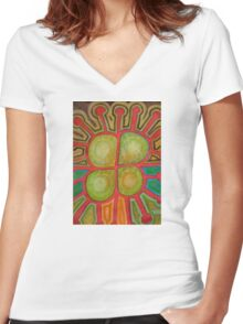 Pituresque Painting within Bizarre Form Women's Fitted V-Neck T-Shirt