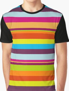 Stripes (Parallel Lines) - Blue Green Red Orange  Graphic T-Shirt