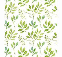Watercolor leaves pattern by helga-wigandt