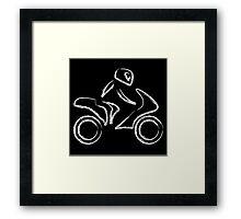 A biker on a motorbike with sketch effect  Framed Print