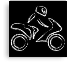 A biker on a motorbike with sketch effect  Canvas Print