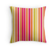 Stripes (Parallel Lines) - Orange Pink Green White Throw Pillow