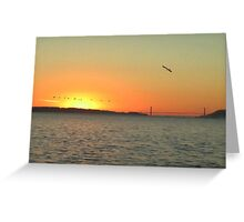 Golden Gate Pelican Sunset Greeting Card