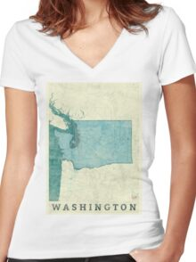 Washington Map Blue Vintage Women's Fitted V-Neck T-Shirt