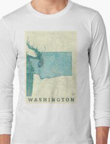 Washington Map Blue Vintage Long Sleeve T-Shirt