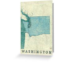 Washington Map Blue Vintage Greeting Card