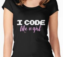 I code like a girl Women's Fitted Scoop T-Shirt