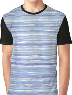 Blue Watercolor Hand Drawn Stripes Modern Abstract Pattern Graphic T-Shirt