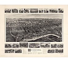 Bird's-eye view Map of Branford Connecticut (1905) Photographic Print