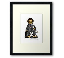 The Business Monkey drinks a coffee to go Framed Print