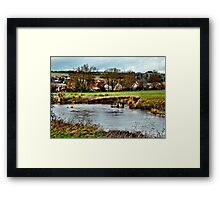 Dorf am Fluss Framed Print