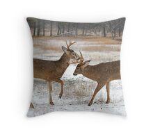 Battle of the Big Bucks - White-tailed deer Throw Pillow