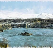 Menai Bridge and Snowdonia Winter Scene by KajayPhotoArt