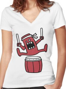 Taiko Monster Women's Fitted V-Neck T-Shirt