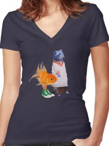 The Amazing World of Gumball in real life Women's Fitted V-Neck T-Shirt