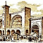 A digital painting of King's Cross Station 1852 by Dennis Melling