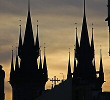 Church Spires at Sunset, Prague, Czech Republic by David J Dionne