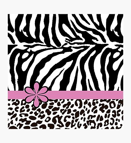 Black and White Zebra Print with Hot Pink Stripe and Flower Photographic Print