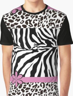 Black and White Zebra Print with Hot Pink Stripe and Flower Graphic T-Shirt