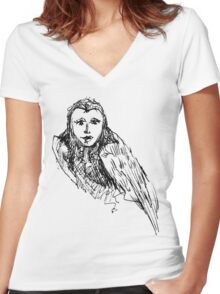 Owl Woman Women's Fitted V-Neck T-Shirt