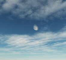 Moon And The Blue Sky by keremgo3d
