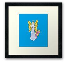 Shy Angel on a Blue back ground Framed Print