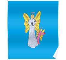 Shy Angel on a Blue back ground Poster