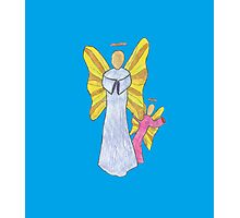 Shy Angel on a Blue back ground Photographic Print