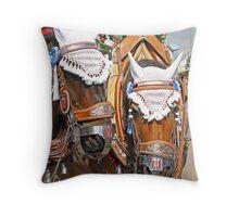 Beer-Wagon Horses - Munich Oktoberfest Throw Pillow
