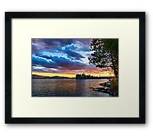 Dramatic sunset at lake Framed Print