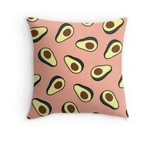 Avocado Pattern in Pink Throw Pillow