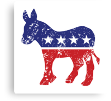 Democrat Original Donkey Logo Distressed  Canvas Print