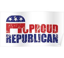 Proud Republican Elephant Distressed Tan Poster